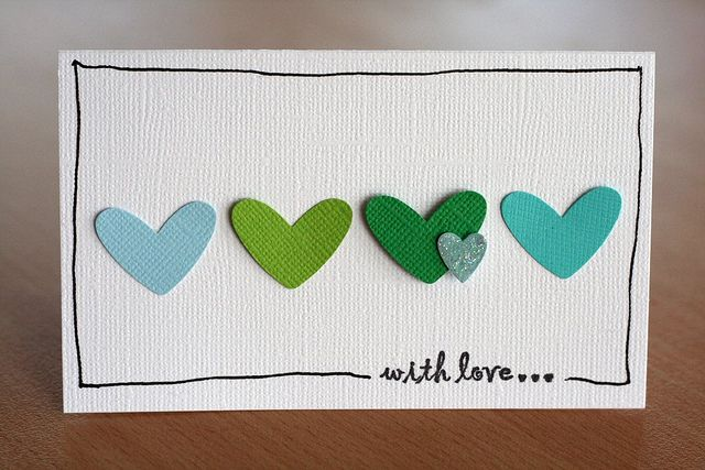 Hearts could be made from paper scraps, paint chips, fun foam, felt, or ? Hand-drawn border...