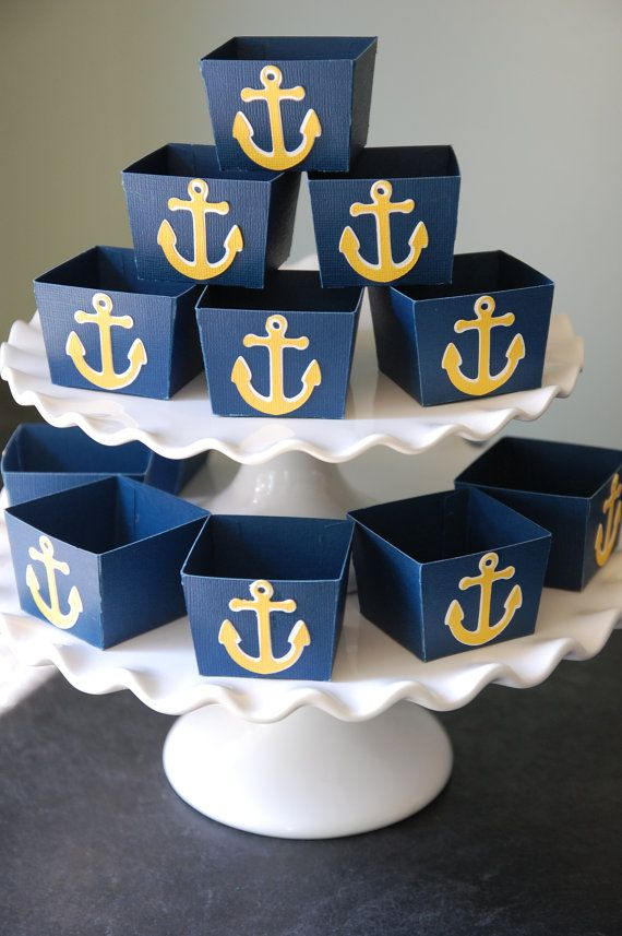 Anchor Candy Cups, Nautical Party Supplies, Nut Cups, Nautical Favors, Navy with Yellow Anchor, Party, 12 Pcs