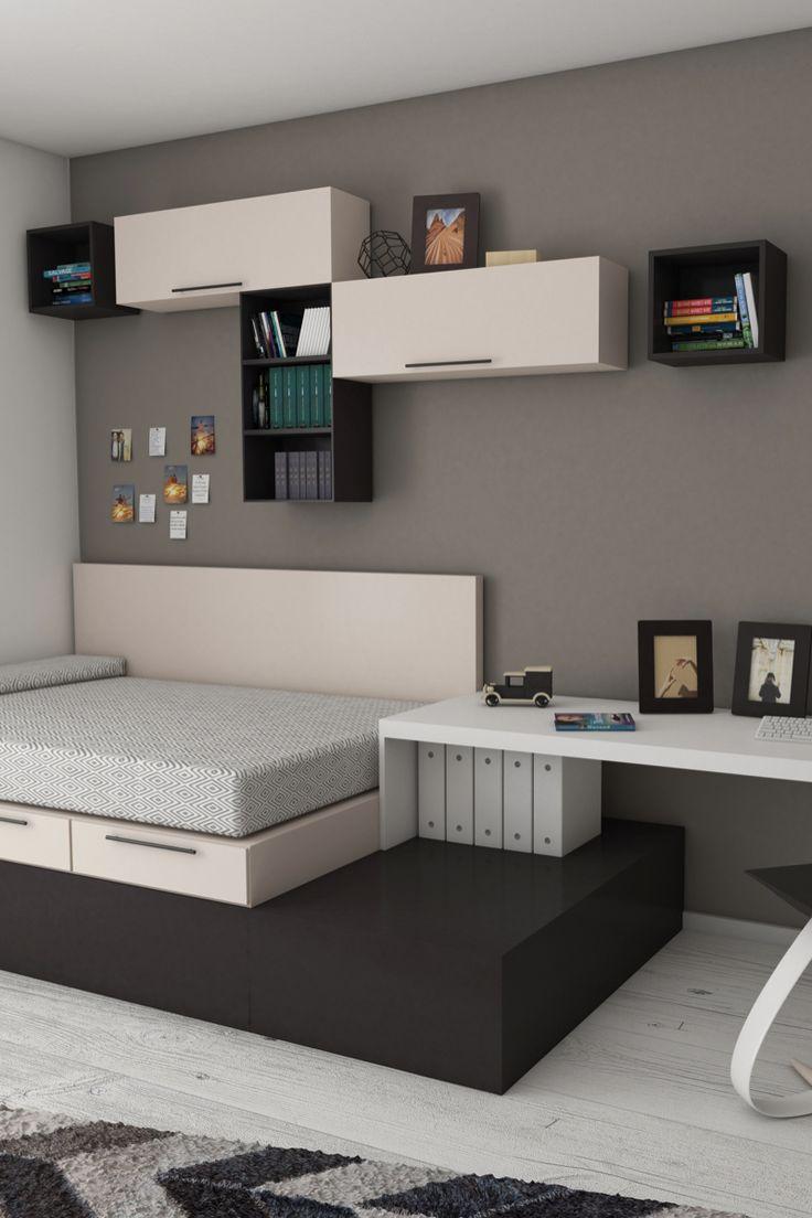 Chambre dans un petit espace bureau moderne et petit lit Chambre ado fille petit espace