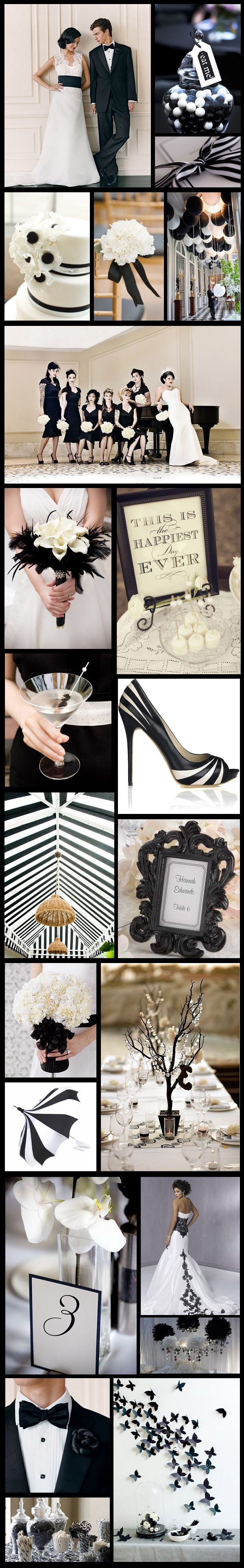 Black & White inspiration Board  Scroll down and check out the wedding dress with black lace detail. Beautiful!