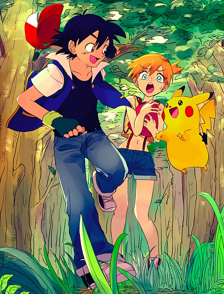Ash and misty and pikachu like this style and coloring