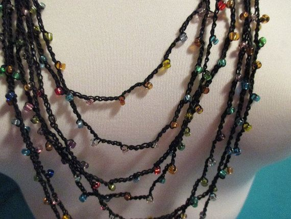 BEADED CROCHET NECKLACE  Clear Multi Coloured by QuackyQuilts