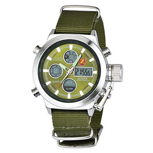 Herren Uhr Sport Uhr ZEIGER Analog Digital Quarz Herren Armbanduhr Alarm Licht Chronograph Datum (Grün)