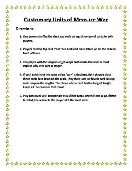 "This different take on the classic ""war"" card game will help them practice customary units of length conversions."