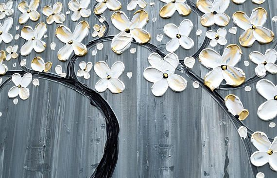 Patience is also a form of action Auguste Rodin Cheers, Katey TITLE: Patience ✿Artwork description- Abstract flower tree painting on canvas ✿Size: 48 x 24 quality Gallery wrap canvas, comes ready to hang. ✿Back wrapped stretched box canvas, black painted edges ✿Medium- acrylic,