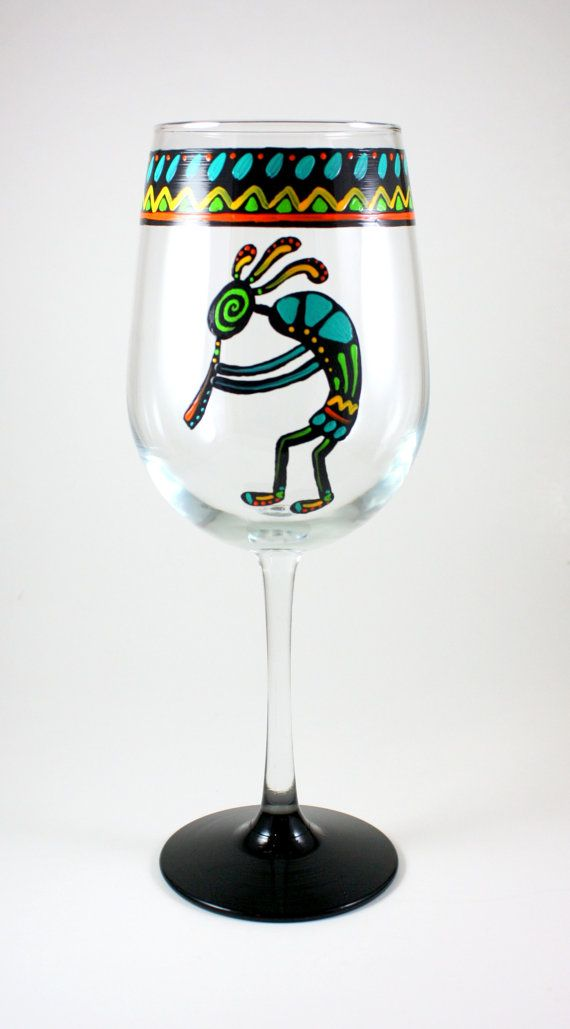 Kokopelli Hand Painted Wine Glass by ImpulsiveCreativity on Etsy, $22.00