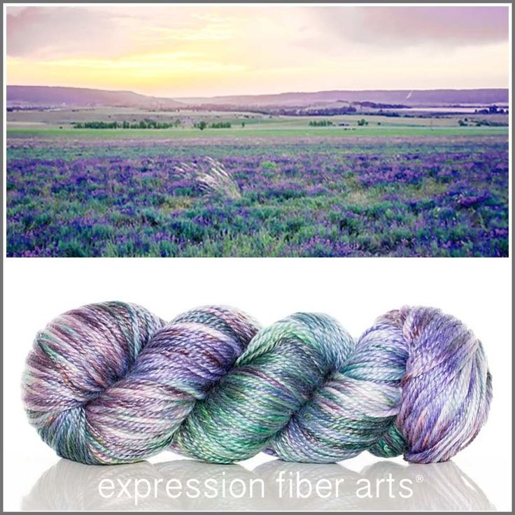Provence - dabbles of green and lavender / purple tones - luster merino tencel worsted weight yarn - expression fiber arts