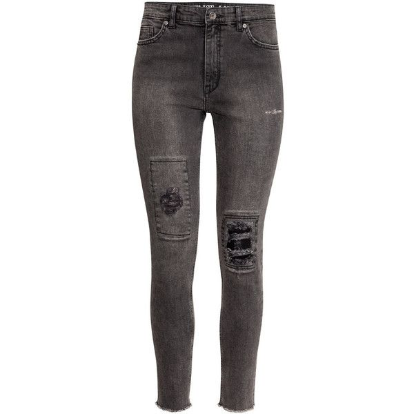 H&M Skinny High Ankle Jeans ($45) ❤ liked on Polyvore featuring jeans, pants, bottoms, black, lullabies, high-waisted skinny jeans, highwaisted skinny jeans, high waisted black skinny jeans, high-waisted jeans and short pants