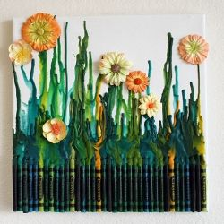 Crayon Garden with instruction.: Melted Crayons Art, Mothersday, Mothers Day, Crayonart, Projects Maryellen3458, Canvas, Letters Art, Flowers, Crafts