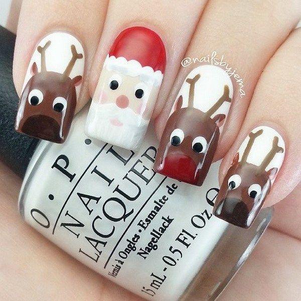 Santa & Reindeer Christmas Nail Art.                                                                                                                                                                                 More