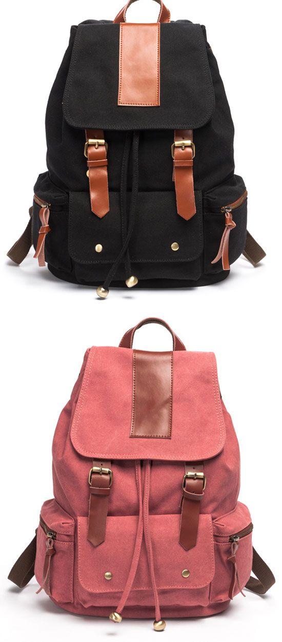 Retro Nice Big Leather Travel Canvas Backpack for big sale ! #backpack #travel #bag #rucksack #school #canvas #large #student #retro