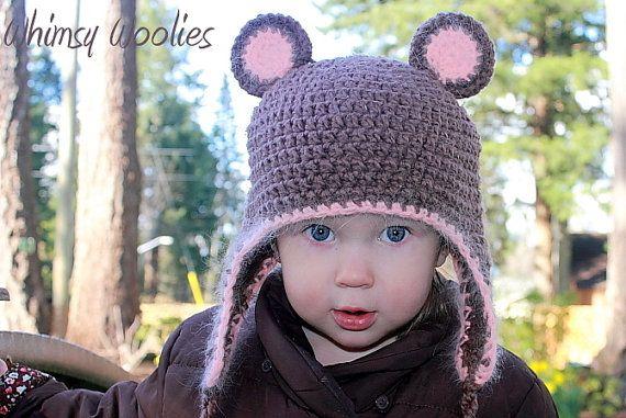 PATTERN  Fuzzy Wuzzy wuz a Bear Crochet hat by whimsywoolies, $4.59