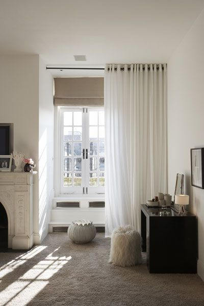 Lovely Sheer Curtain Set Forward From The Roman Blind