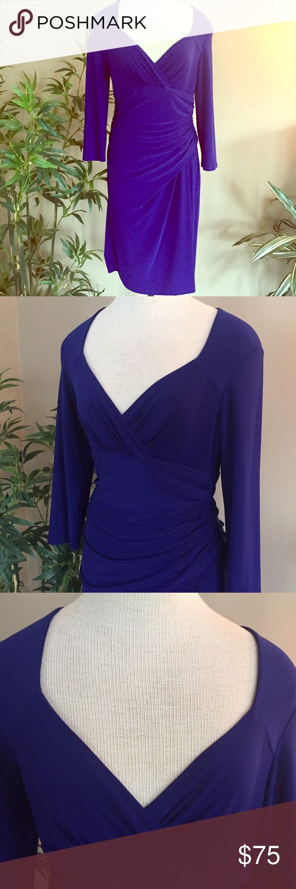 🆕Cobalt Blue Dress Appropriate for work or an evening out. Gathered on the side. Cross front neckline. Excellent used condition, no flaws. Lauren Ralph Lauren Dresses