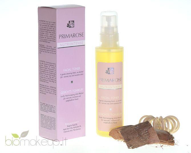 Il tonico per il viso PRIMAROSE contiene olio di Rosa Damascena Bulgara combinato con estratti di tè Mursala, cellule staminali di Mela, Acido Ialuronico, Allantoina, D-Pantenolo e Beta Carotene.