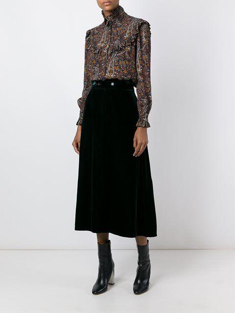 Saint Laurent бархатная юбка