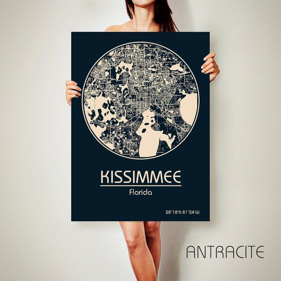KISSIMMEE Florida CANVAS Map Kissimmee Florida by ArchTravel