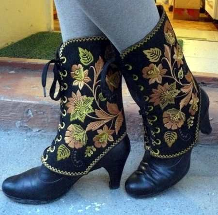 Advanced Embroidery Designs. Embroidered Gaiters in the hoop.
