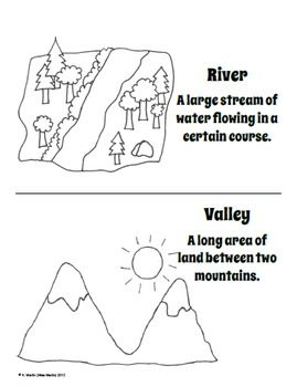 FREE Landforms Dictionary (or Coloring Book