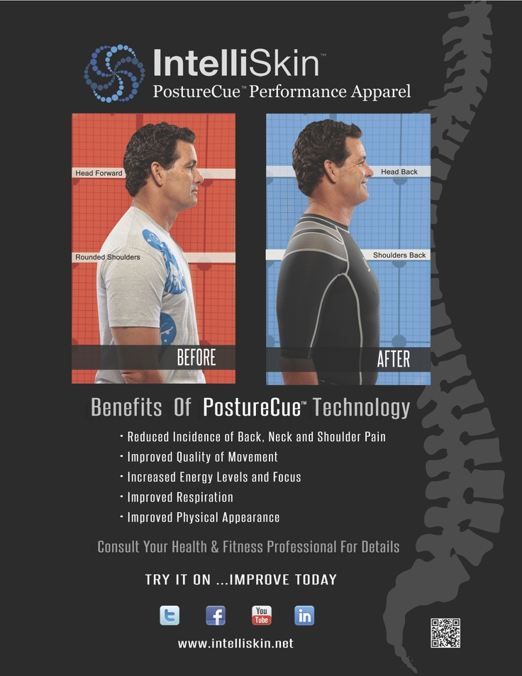 Before and After wearing IntelliSkin Foundation shirt. #posture