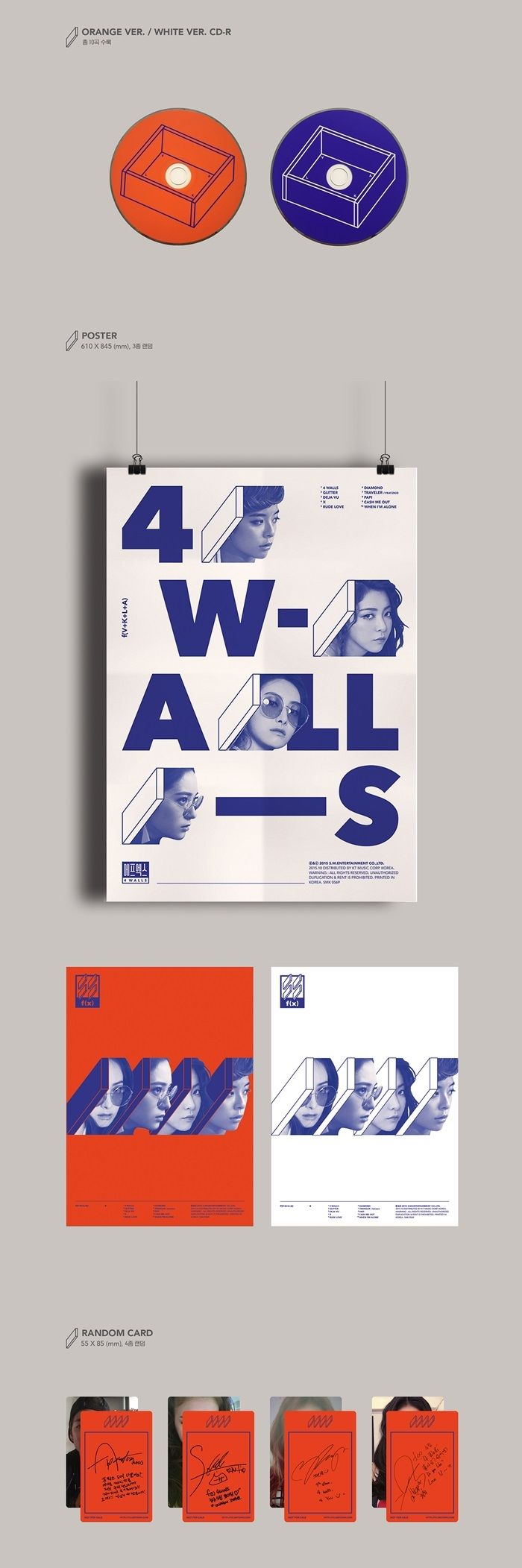 FX f(x) 4th Album Vol 4 - 4 Walls CD + Poster (Orange Version)