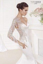 Tarik Ediz свадебные платья русалка с вышивкой на рукаве