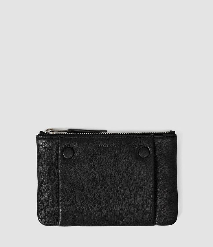 All Saints Womens Darling Medium Leather Pouch Purse (Black)