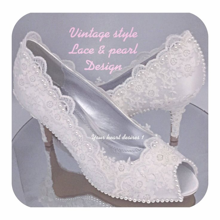 Vintage Wedding Shoes Lace And Pearl Custom Design Bride
