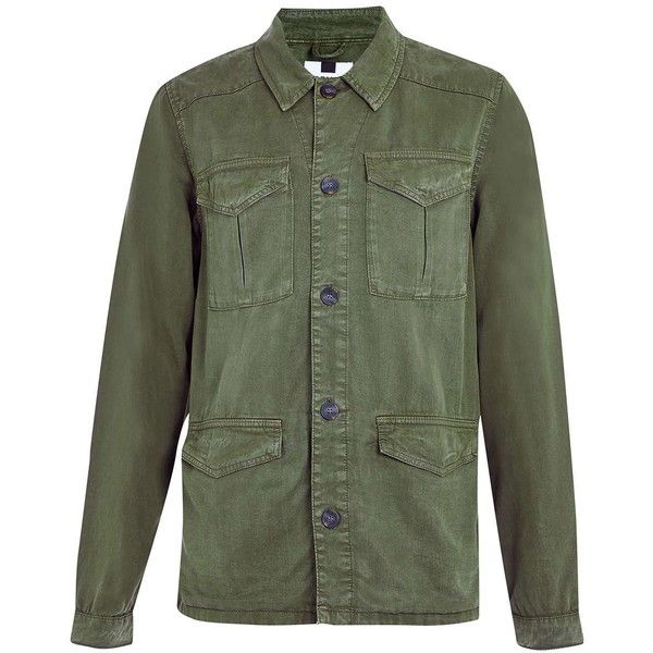 TOPMAN Khaki Field Jacket (84 CAD) ❤ liked on Polyvore featuring men's fashion, men's clothing, men's outerwear, men's jackets, mens lightweight jacket, mens military style jacket, mens military jacket, mens light weight jackets and mens khaki jacket