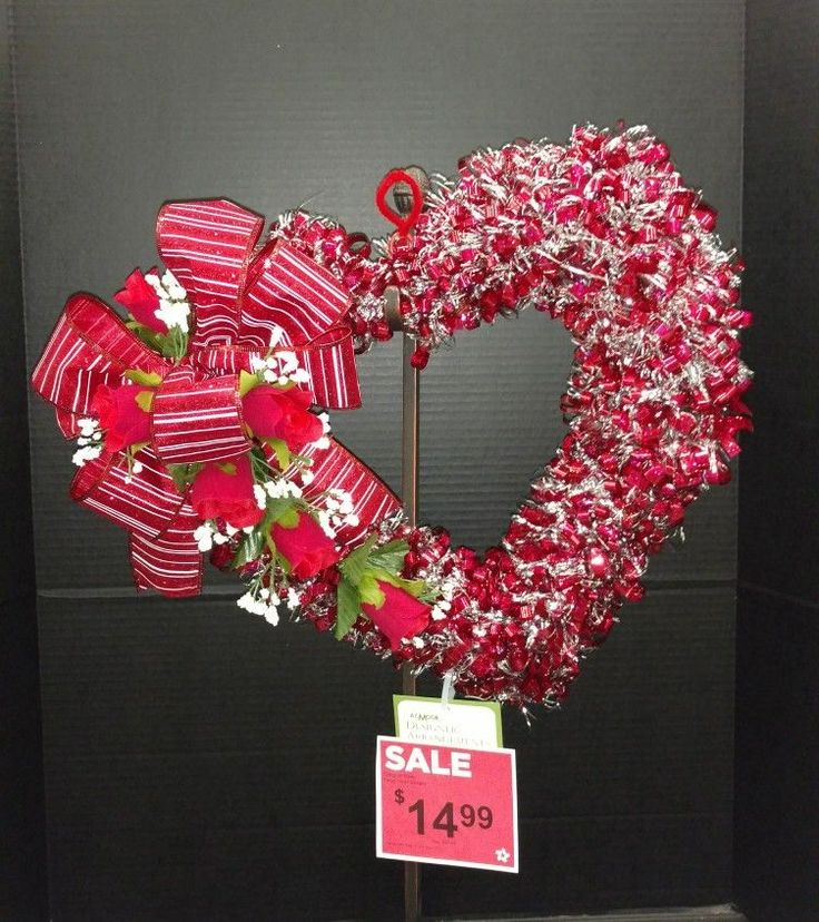 Valentine's day tinsel heart wreath by Laura Lake @AC Moore