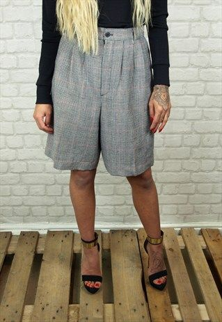 CHECKED HIGH WAISTED WOOL CULOTTE STYLE SHORTS