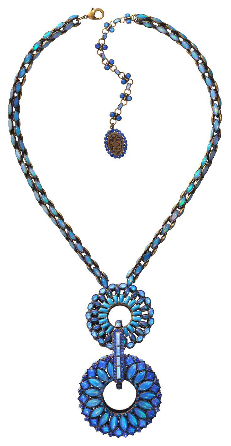 Halskette Y-Form Ethnic Mosaic blue/green