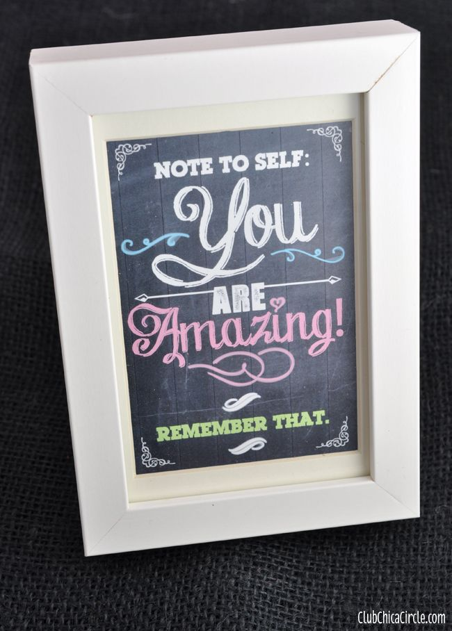 You Are Amazing Chalkboard Inspirational Printable | Tween Craft Ideas for Mom and Daughter