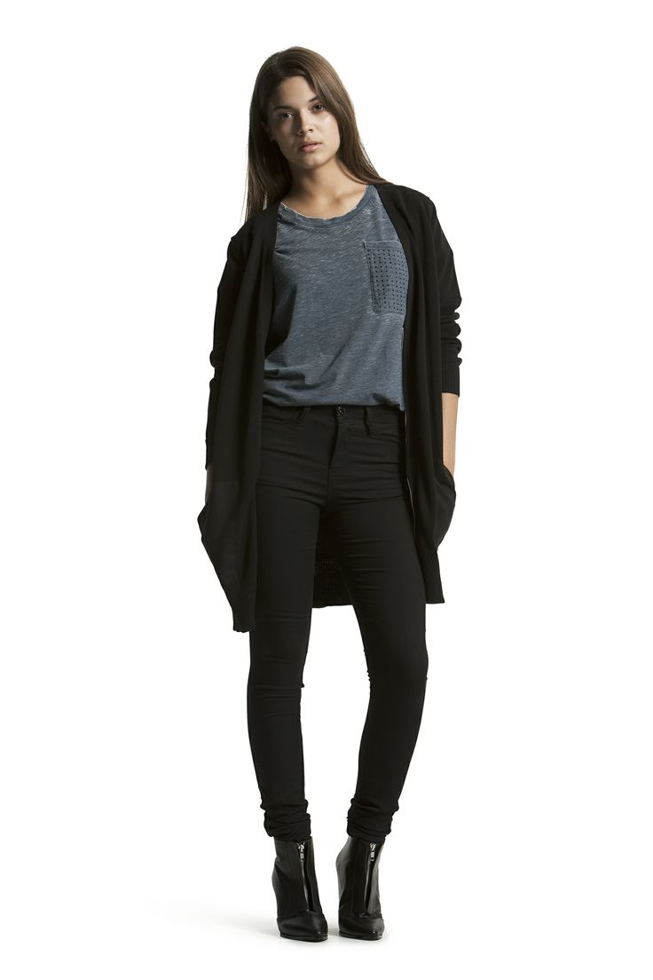 Darla Tee with Destiny Knit Cardigan and Concorde Slim HW Jeans