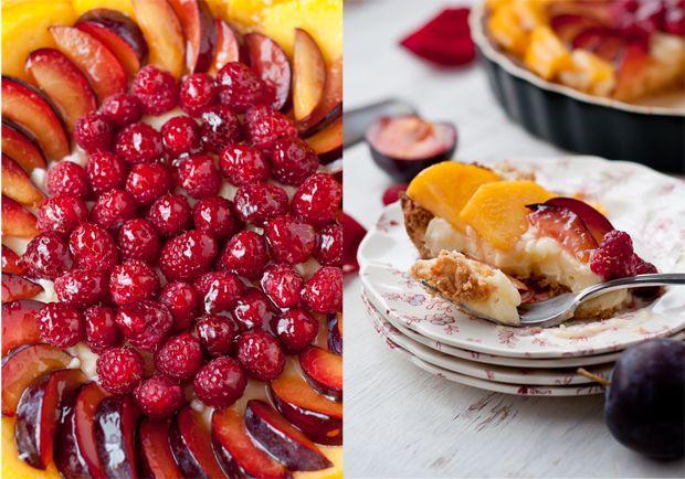 Gluten-Free Peach, Plum, Raspberry and Cardamom Cream Tart with Almond ...