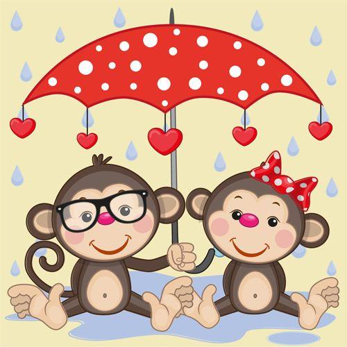 animales divertidos y vector 18 de dibujos animados paraguas