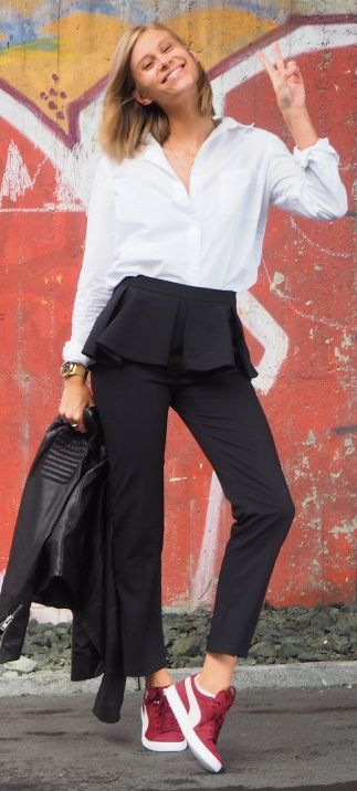 Thefashioneaters White Button Down Black Peplum Pants