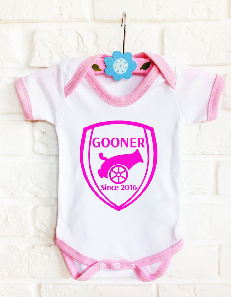 Baby's Arsenal football team inspired contrast pink customized  bodysuit onesie Gooner since the day baby girl born. by MumKnowsBabyGrows on Etsy