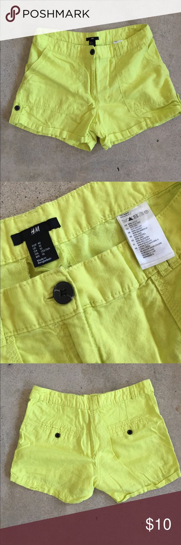 H&M Linen and Cotton Neon Yellow Shorts - Sz 10 H&M Linen and Cotton Neon Yellow Shorts. Size 10 H&M Shorts