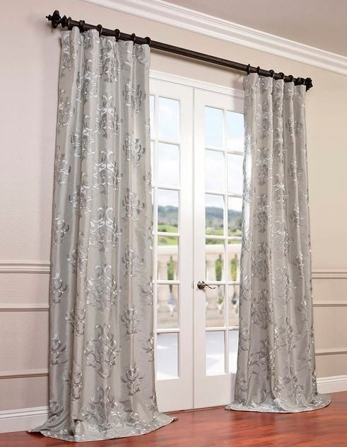 Ankara Silver Embroidered Faux Silk Curtain Single Panel $109
