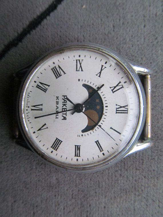 collectibles wristwatches Raketa Moon Calendar Quartz made in Soviet Union /Leningrad St Petersburg watch factory/USSR