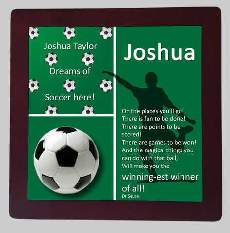 Personalised Framed Tile, Children's Room Sign, Soccer Green