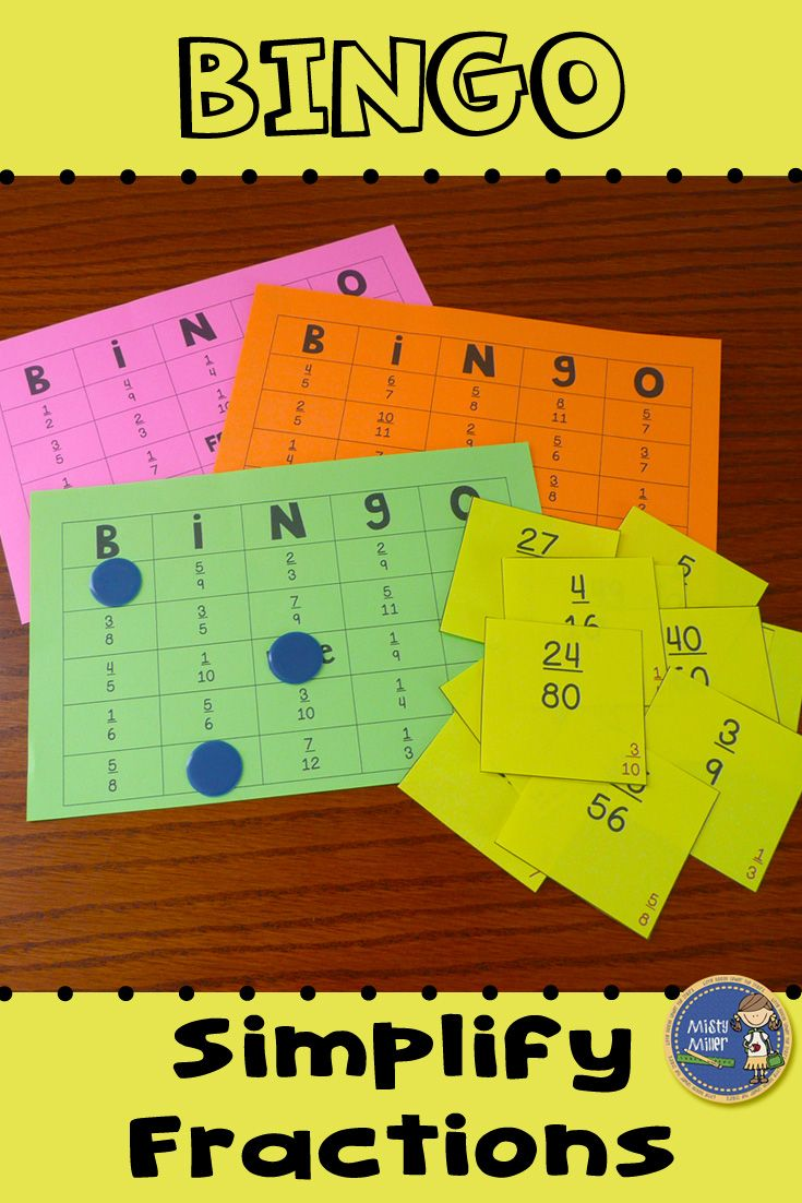 Simplify Fractions BINGO - Provide your students with some engaging practice with simplifying fractions. Students will simplify fractions while playing a math game. $ gr 4-7