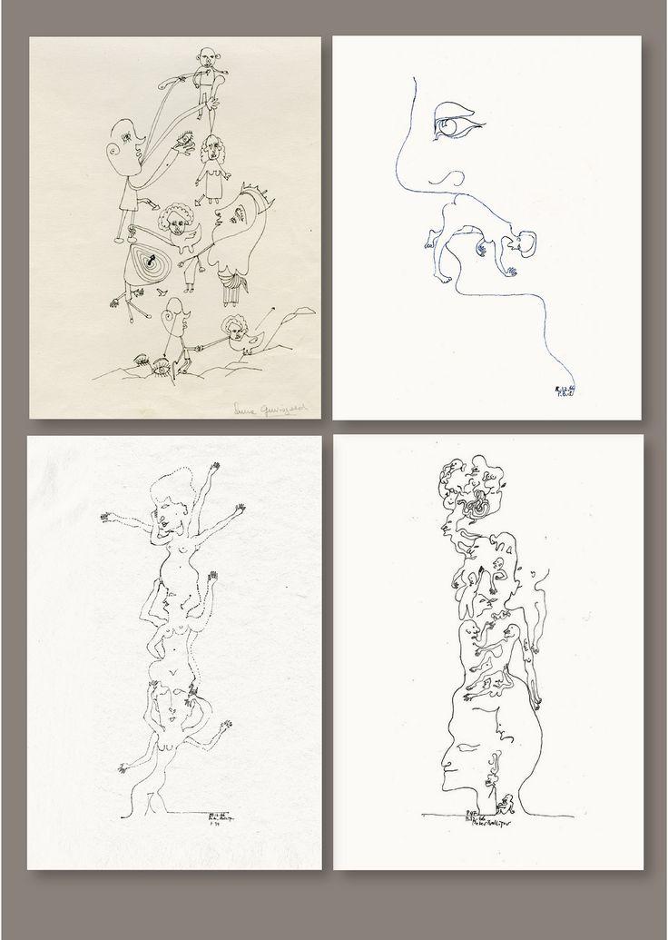 Eine Zeichnung von Laura Gewisgold, einer Künstlerin aus Argentinien von www.aussenseiterkunst.ch und www.outsider-art-brut.ch in der Gegenüberstellung von drei eigenen Zeichnungen aus den Sechzigerjahren – der Zeitgeist ist unverkennbar...