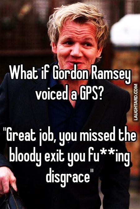 What if Gordon Ramsey voiced a GPS #lol #funny, #haha, #funnypics, #laughtard #funnycelebs #gordonramsey