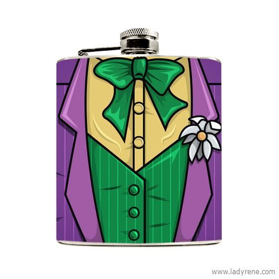Groomsmen Superhero Jester Hero Hip Flask Hip Flask by LadyRene