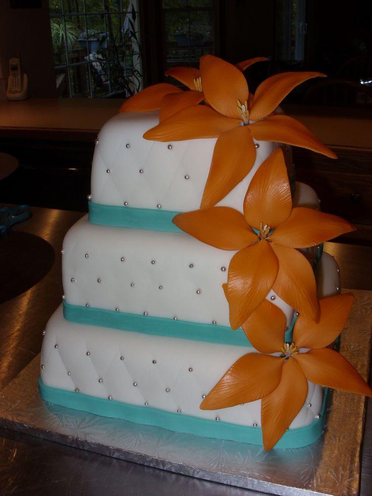 Orange and Teal Square Wedding Cake