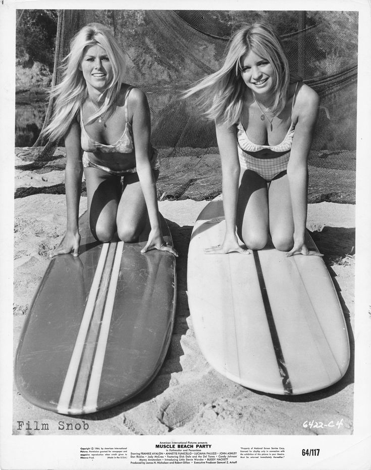 """Mary Hughes and Kathy Kessler """"Muscle Beach Party (1964) - 1960s summer style"""