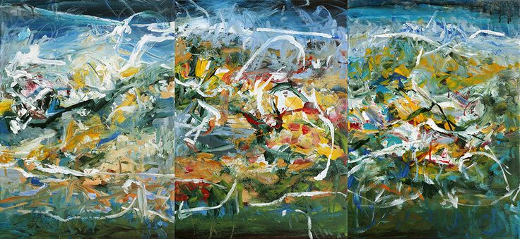 """Abstract Painting by Veronica Plewman - North Coast Tide Pool, 2014 Acrylic on Canvas, 25"""" x 54"""" [Triptych]"""