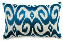 Ikat Teal Lumber Cushion Boyd Blue